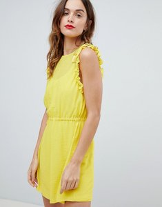 Read more about Sisley frill sleeve mini dress - yellow