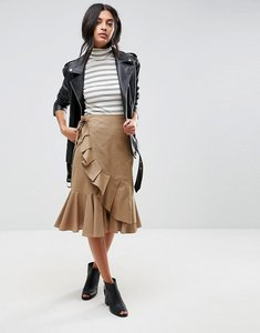 Read more about Asos midi skirt in twill with frill wrap detail - khaki