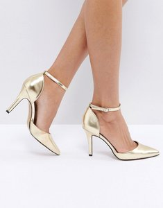 Read more about True decadence strap point gold heeled shoes - matt gold