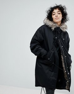 Read more about Noisy may oversized parka jacket with faux fur - black