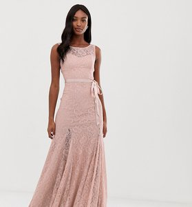 Read more about City goddess tall lace maxi dress with satin belt - blush pink