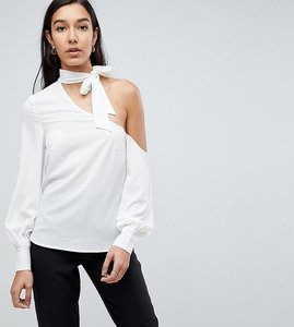 Read more about Fashion union tall cold shoulder blouse with tie neck detail - white