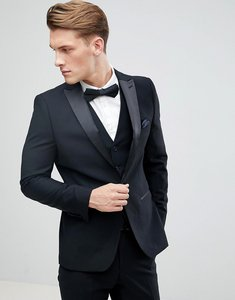 Read more about French connection peak lapel slim fit tuxedo jacket - black