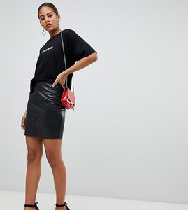 Read more about Missguided tall leather look mini skirt - black