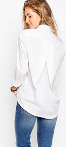 Read more about Asos slim boyfriend shirt with pleat detail back - white