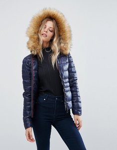Read more about Vero moda faux fur hooded padded jacket - navy blazer