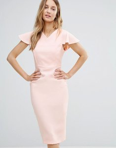 Read more about Vesper midi pencil dress with structured shoulders - blush