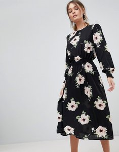 Read more about Ax paris floral midi dress - black