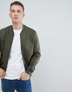 Read more about Asos design bomber jacket with sleeve zip in khaki - khaki