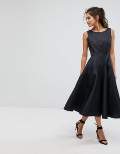 Read more about Chi chi london fit and flare midi dress with seam detail - black