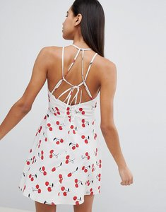 Read more about Asos cherry print mini sundress with strappy back - multi