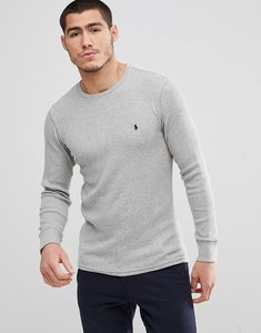 Read more about Polo ralph lauren waffle long sleeve cuffed top player logo in grey marl - andover heather