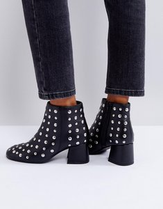 Read more about Park lane studded leather mid heel boot - black leather