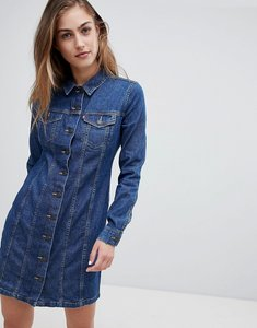 Read more about Levi s button through long sleeve western denim dress - livin large