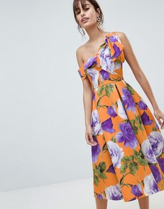 Read more about Asos design scuba bow one shoulder prom dress in bright floral print - floral
