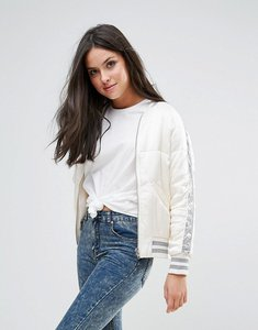 Read more about Glamorous bomber jacket with sequin panel sleeve - white