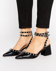 Read more about Asos sixth sense studded mid shoes - black