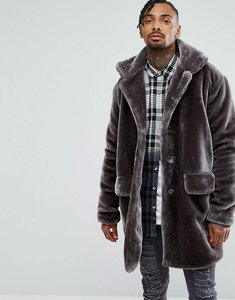 Read more about The new county oversized overcoat in teddy faux fur - grey