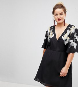 Read more about Asos curve bird embroidered flutter sleeve mini dress - black