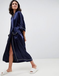 Read more about Asos white 100 silk dressing gown - navy