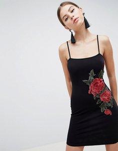 Read more about Asos design rib bodycon mini dress with rose applique - black