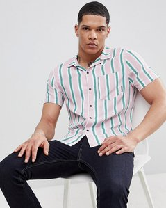 Read more about Religion slim revere collar shirt in stripe - pink white green