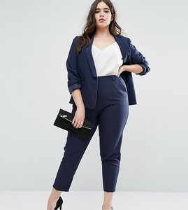Read more about Asos curve ankle grazer cigarette trouser in crepe - navy