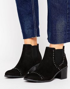 Read more about New look suedette stud detail heeled ankle boot - black