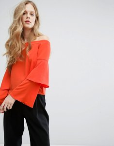 Read more about Miss selfridge layered sleeve bardot top - orange