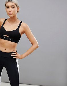 Read more about Bershka strappy back cut out gym bra - black