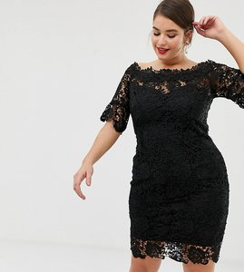 Read more about Paper dolls plus off shoulder crochet midi dress with frill sleeve in black