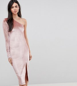 Read more about Flounce london tall glitter velvet one shoulder midi dress - nude gold