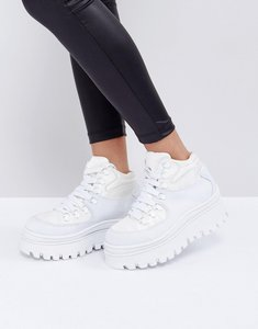 Read more about Jeffrey campbell toppeak white flatform trainers - white satin neoprene