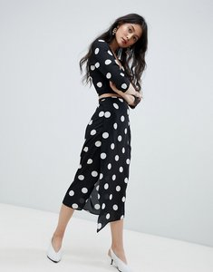 Read more about Oh my love wrap midi skirt in polka dot - black white
