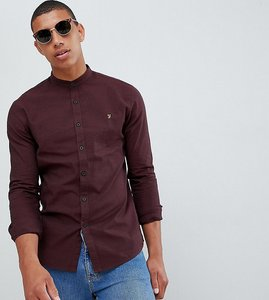Read more about Farah steen slim fit textured grandad collar shirt in red - red