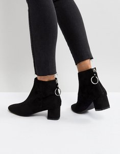 Read more about Raid skylar black mid heeled ankle boots - black micro