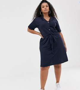 Read more about Pink clove tie waist shirt dress with button front in navy