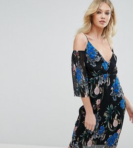 Read more about Missguided plisse floral cold shoulder midi dress - multi