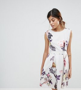 Read more about Closet london cap sleeve printed skater dress - multi