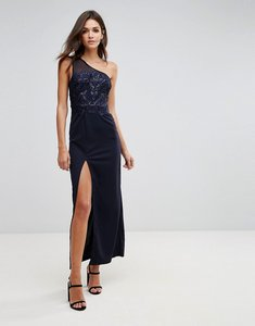 Read more about Ax paris navy sequin maxi dress with thigh high split - navy