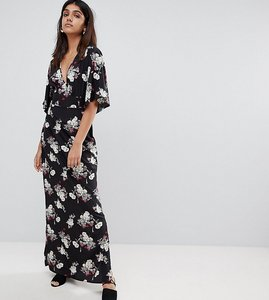 Read more about Influence tall kimono sleeve floral maxi dress - black