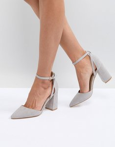 Read more about Raid katy grey block heeled shoes - light grey suede