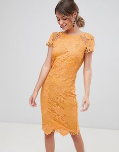 Read more about Paper dolls cap sleeve crochet pencil dress - warm ochre