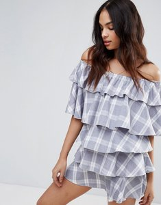 Read more about Missguided check print bardot ruffle dress - grey