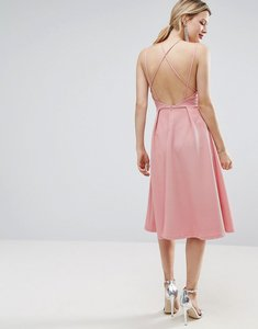 Read more about Asos waffle texture midi skater dress - rose pink