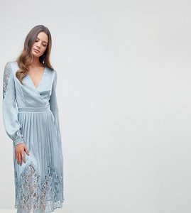 Read more about Little mistress tall wrap front midi dress with lace pleated skirt - cornflower