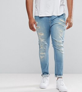 Read more about Asos plus super skinny jeans in mid wash blue with extreme rips - mid wash blue