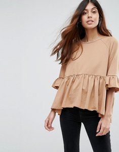 Read more about Vero moda sweat peplum top - camel