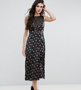 Read more about Asos tall floral tea dress with lace insert - multi