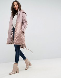 Read more about Asos parka in mixed fabrics - mink